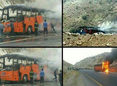 اتوبوس مسافربری طعمه حریق شد +عکس